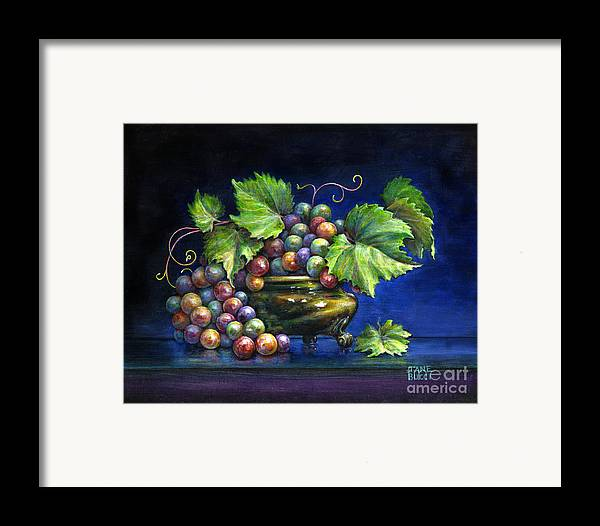 Still Life Framed Print featuring the painting Grapes In A Footed Bowl by Jane Bucci