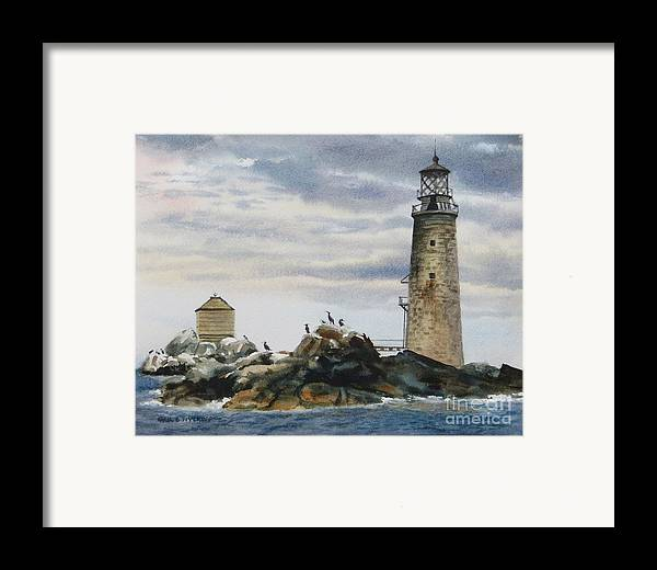 Clouds Framed Print featuring the painting Graves Light House by Karol Wyckoff