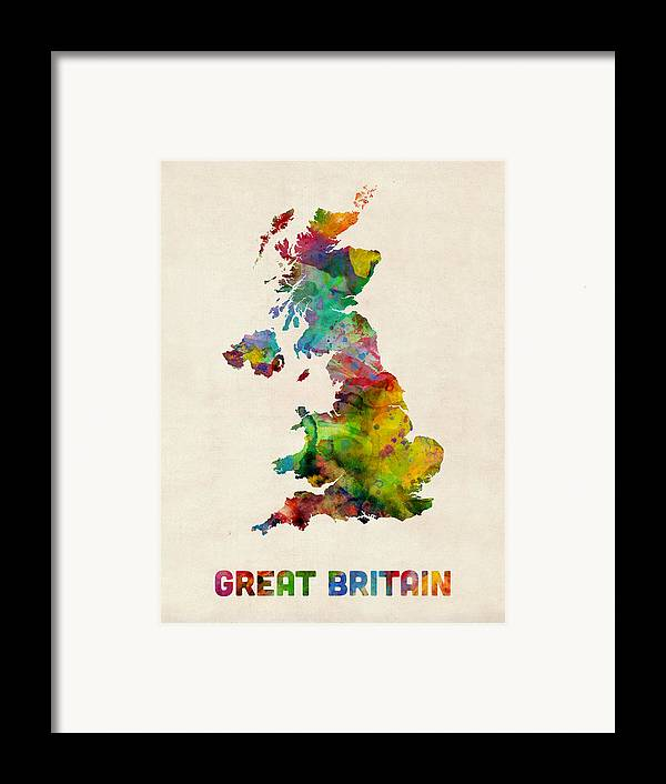 Map Art Framed Print featuring the digital art Great Britain Watercolor Map by Michael Tompsett