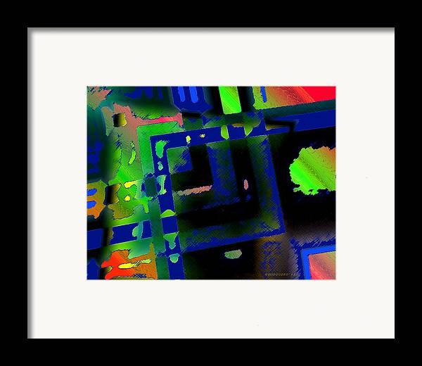 Green Framed Print featuring the digital art Green Geometric Spots by Mario Perez