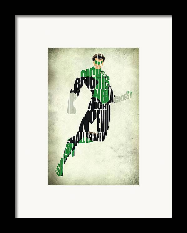 Green Lantern Framed Print featuring the drawing Green Lantern by Ayse Deniz