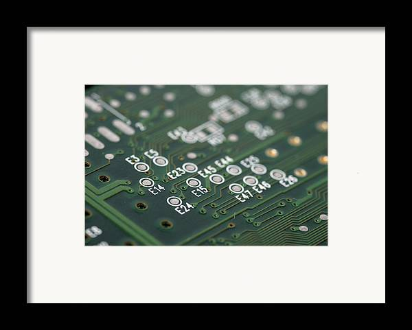 Board Framed Print featuring the photograph Green Printed Circuit Board Closeup by Matthias Hauser