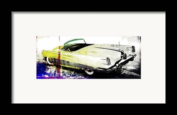 Vintage Framed Print featuring the digital art Grunge Retro Car by David Ridley