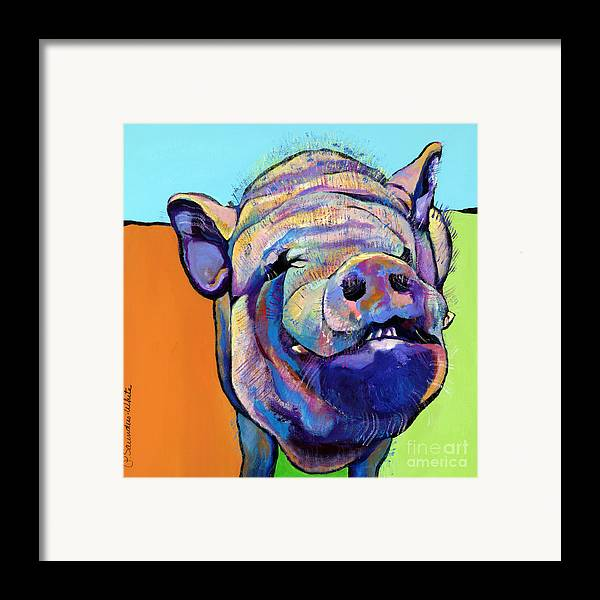 Pat Saunders-white Canvas Prints Framed Print featuring the painting Grunt  by Pat Saunders-White