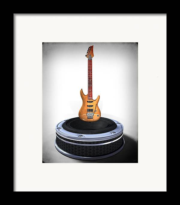 Music Framed Print featuring the digital art Guitar Desplay V1 by Frederico Borges