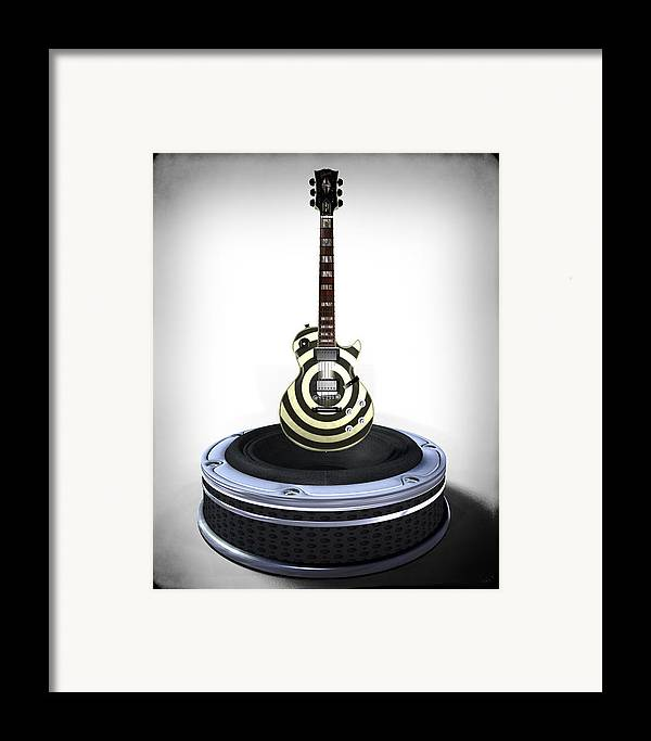Guitar Framed Print featuring the digital art Guitar Desplay V2 by Frederico Borges