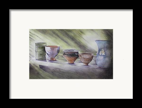 Hand Thrown Pottery Framed Print featuring the painting Hand Thrown by Patsy Sharpe