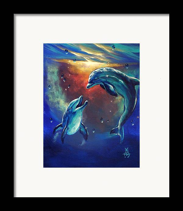 Dolphins Framed Print featuring the painting Happy Dolphins by Marco Antonio Aguilar