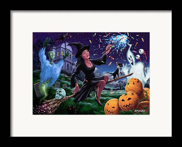 Halloween Framed Print featuring the painting Happy Halloween Witch With Graveyard Friends by Martin Davey