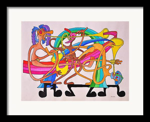 Happy Framed Print featuring the drawing Happy People Horns by Glenn Calloway