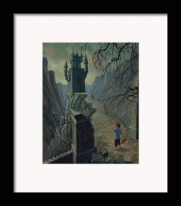 Castle Framed Print featuring the painting Haunted Castle Nightmare by Martin Davey