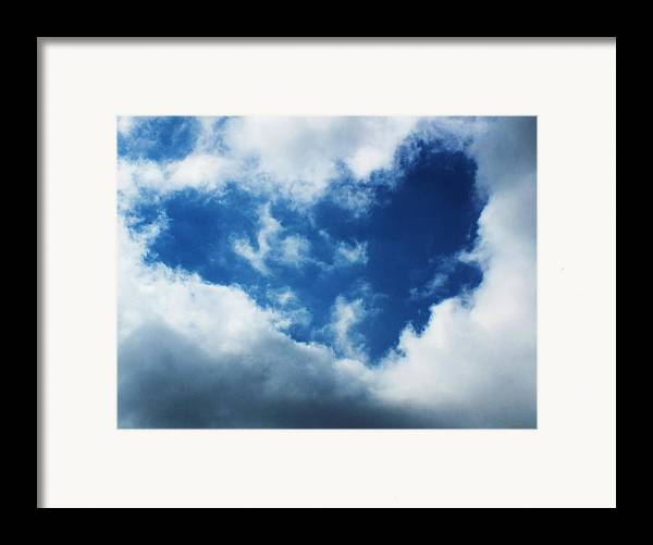 Cloud Framed Print featuring the photograph Heart In The Sky by Anna Villarreal Garbis