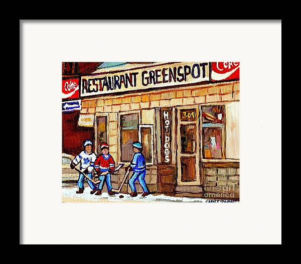 Restaurant Greenspot Framed Print featuring the painting Hockey And Hotdogs At The Greenspot Diner Montreal Hockey Art Paintings Winter City Scenes by Carole Spandau