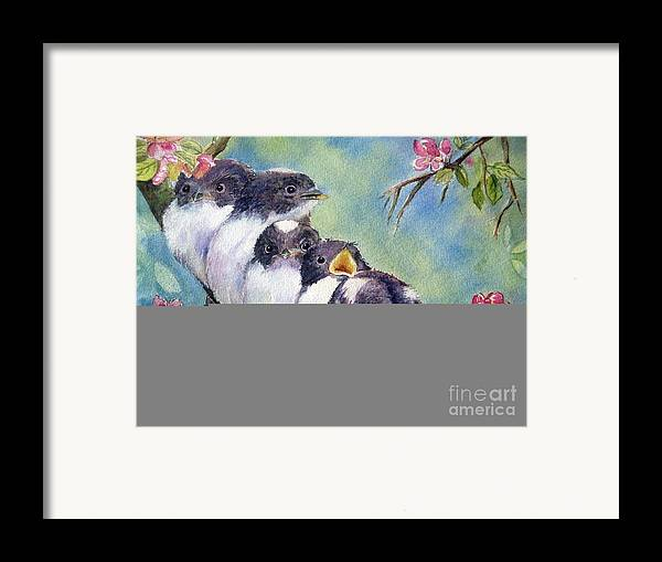 Baby Birds Framed Print featuring the painting Home Alone by Patricia Pushaw