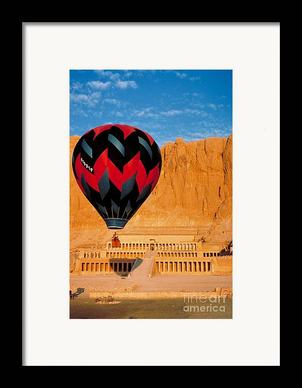 Travel Framed Print featuring the photograph Hot Air Balloon Over Thebes Temple by John G Ross