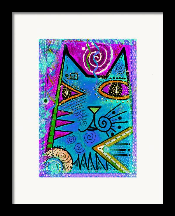Moon Stumpp Framed Print featuring the painting House Of Cats Series - Dots by Moon Stumpp