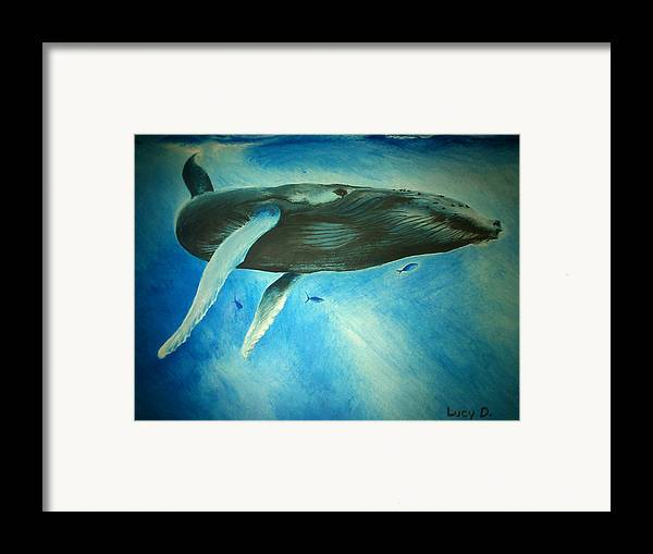 Nature Framed Print featuring the painting Humpback Whale by Lucy D