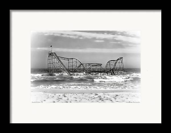 Hurricane Sandy Photographs Framed Print featuring the photograph Hurricane Sandy Jetstar Roller Coaster Black And White by Jessica Cirz