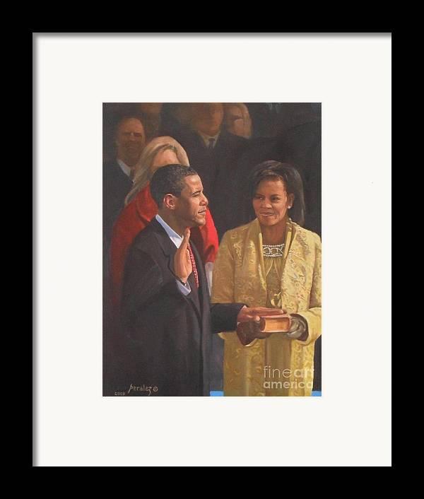 Barack Obama Portraits Framed Print featuring the painting Inauguration Of Barack Obama by Noe Peralez