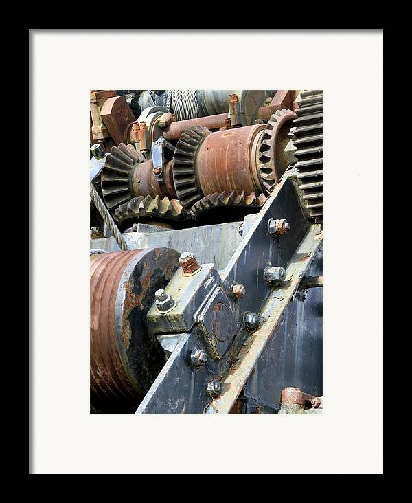 Cog Framed Print featuring the photograph Industrial Cogs And Pulley Wheels by Science Photo Library