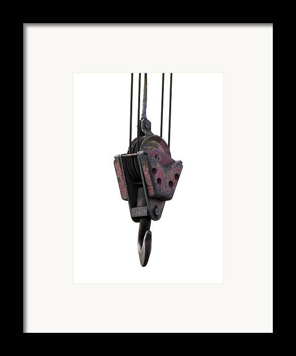 Equipment Framed Print featuring the photograph Industrial Lifting Hook And Pulley by Science Photo Library