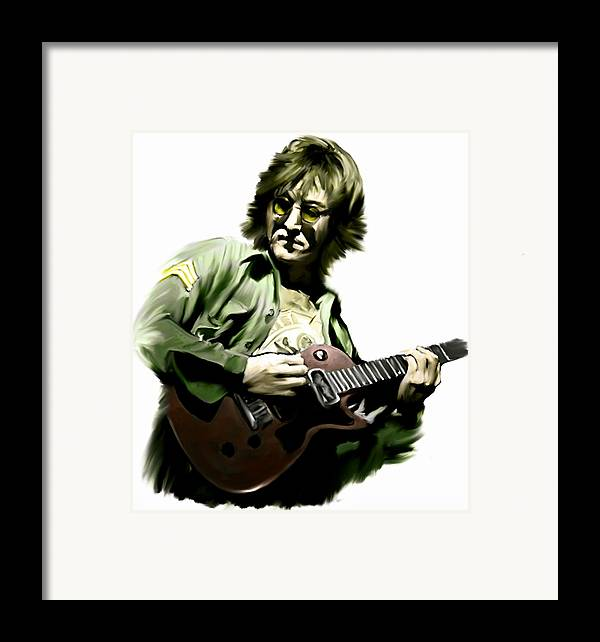 John Lennon Framed Print featuring the painting Instant Karma John Lennon by Iconic Images Art Gallery David Pucciarelli