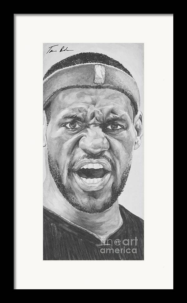 Lebron Framed Print featuring the painting Intensity Lebron James by Tamir Barkan