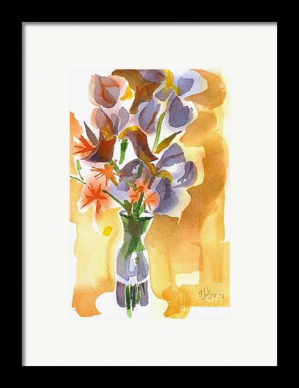 Irises With Stars Of Bethlehem Framed Print featuring the painting Irises With Stars Of Bethlehem by Kip DeVore