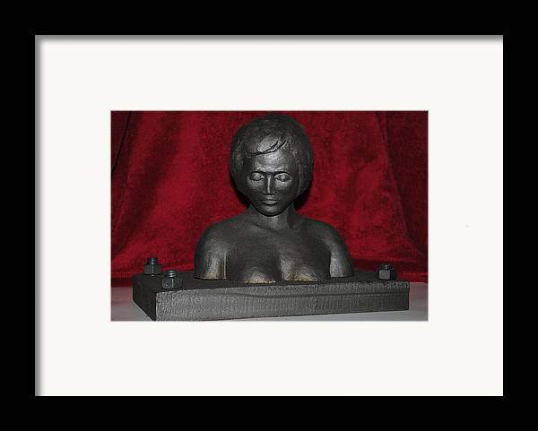Terra Cotta And Steel Sculpture Framed Print featuring the sculpture Iron Maiden I by Tom Wright