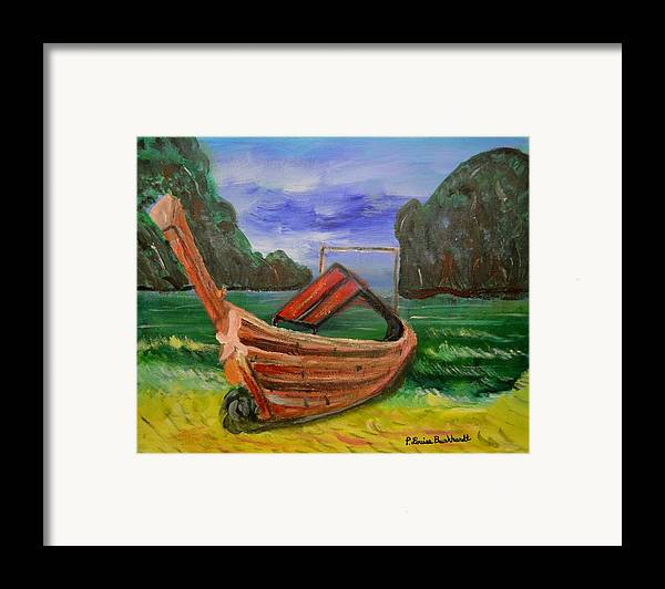 Tropical Framed Print featuring the painting Island Canoe by Louise Burkhardt