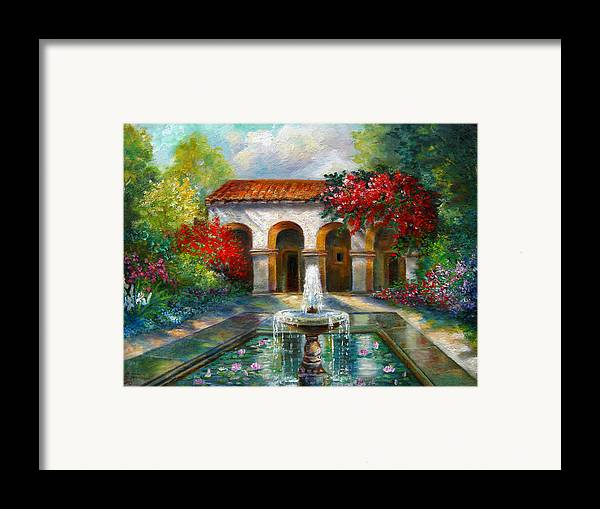 Italian Landscape Framed Print featuring the painting Italian Abbey Garden Scene With Fountain by Regina Femrite