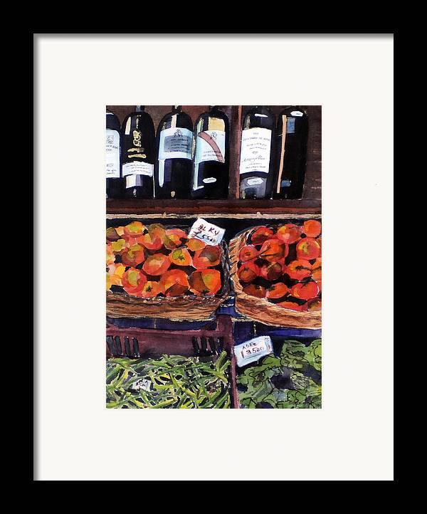 Wine Framed Print featuring the painting Italian Market by Susie Jernigan