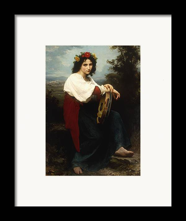 Italian; Woman; Female; Girl; Portrait; Tambourine; Musical; Instrument; Music; Seated; Rural; Landscape; Countryside; Provincial; Flower; Flowers; Hair; Garland; Headdress; Barefoot; Neo-classical; Framed Print featuring the painting Italian Woman With A Tambourine by William Adolphe Bouguereau