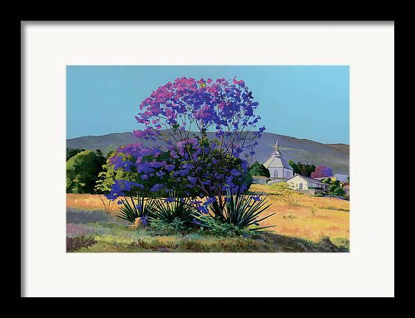 Acrylics Framed Print featuring the painting Jacaranda Holy Ghost Church In Kula Maui Hawaii by Don Jusko
