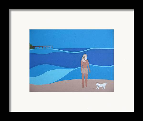 Jack Russell Framed Print featuring the painting Jack At The Beach by Sandra McHugh