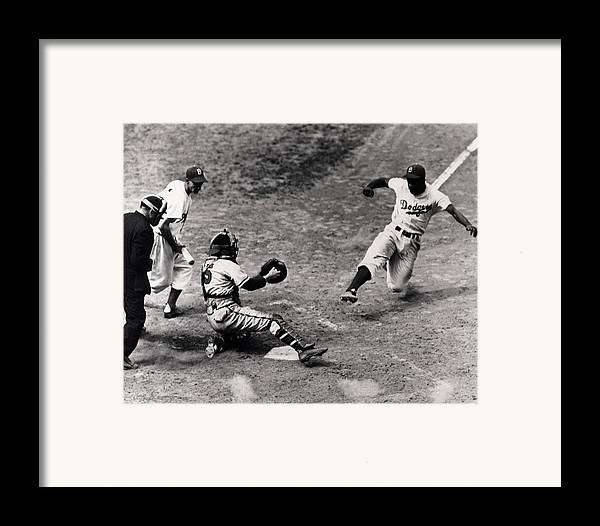 Jackie Framed Print featuring the photograph Jackie Robinson In Action by Gianfranco Weiss