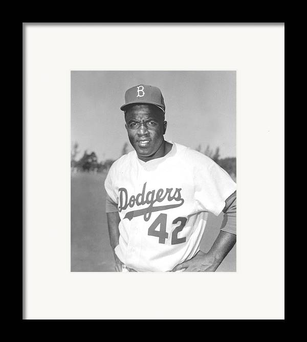 African Americans Framed Print featuring the photograph Jackie Robinson Poster by Gianfranco Weiss