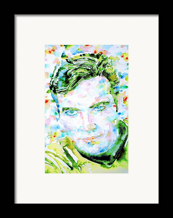 Kirk Framed Print featuring the painting James T. Kirk - Watercolor Portrait by Fabrizio Cassetta