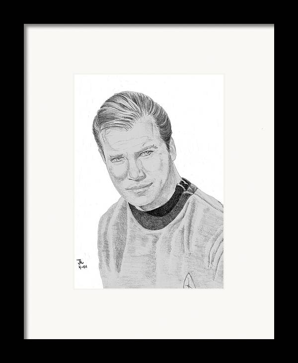 Captain Framed Print featuring the drawing James Tiberius Kirk by Thomas J Herring