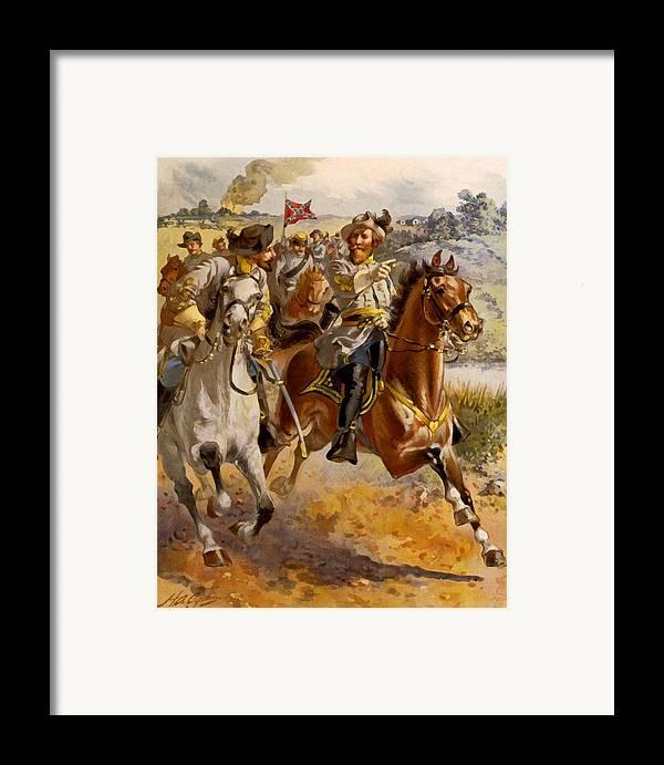 Henry Alexander Ogden Framed Print featuring the digital art Jeb Stuart Civil War by Henry Alexander Ogden