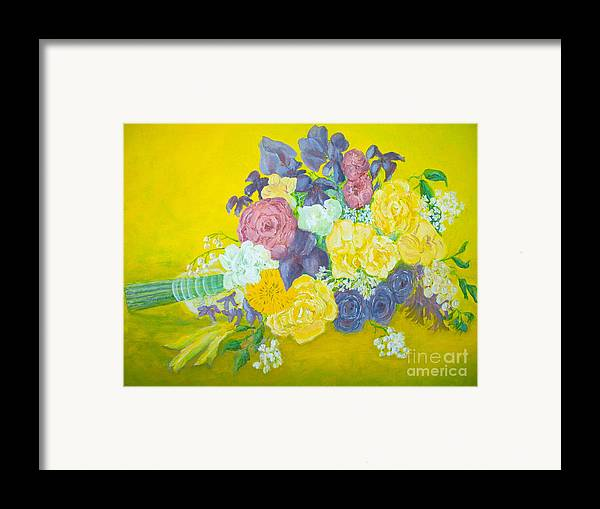 Wedding Bouquet Framed Print featuring the painting Jen's Wedding Bouquet by Paul Galante