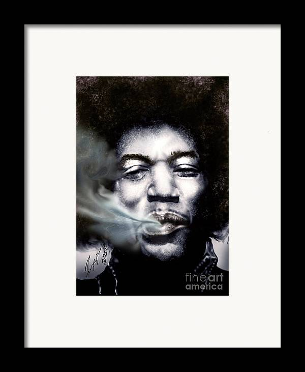 Jimi Hendrix Framed Print featuring the painting Jimi Hendrix-burning Lights-2 by Reggie Duffie