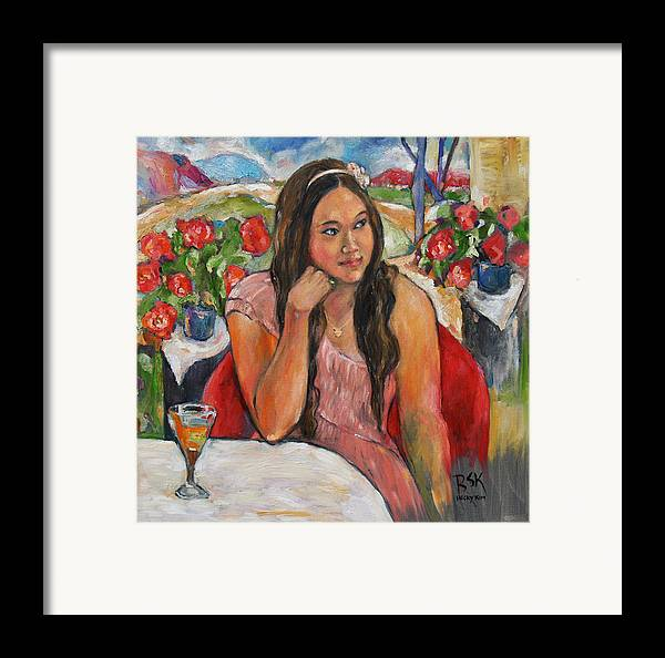Oil Painting Framed Print featuring the painting Jinny In Pink Dress by Becky Kim
