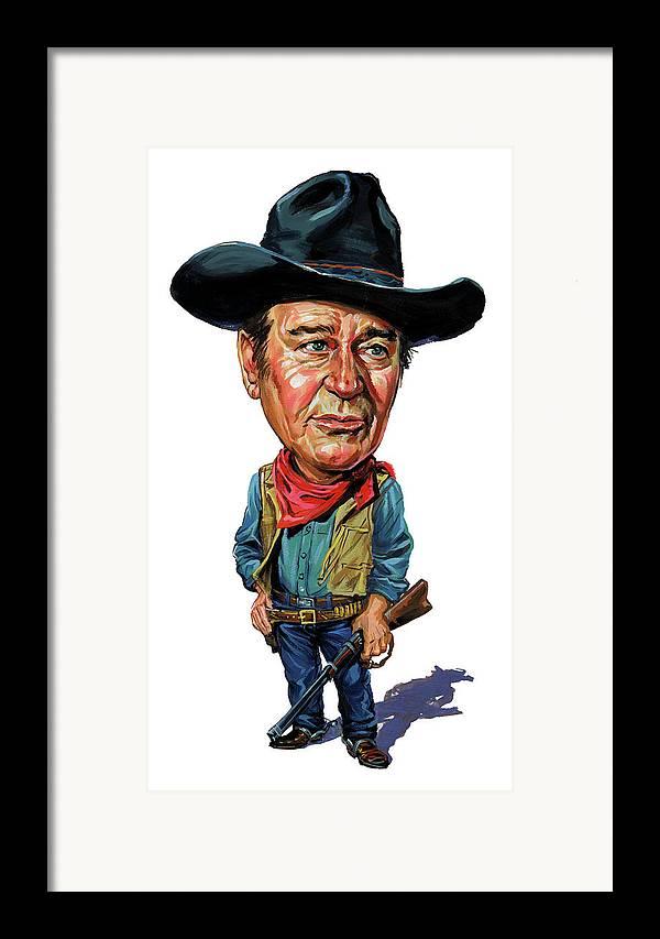 John Wayne Framed Print featuring the painting John Wayne by Art