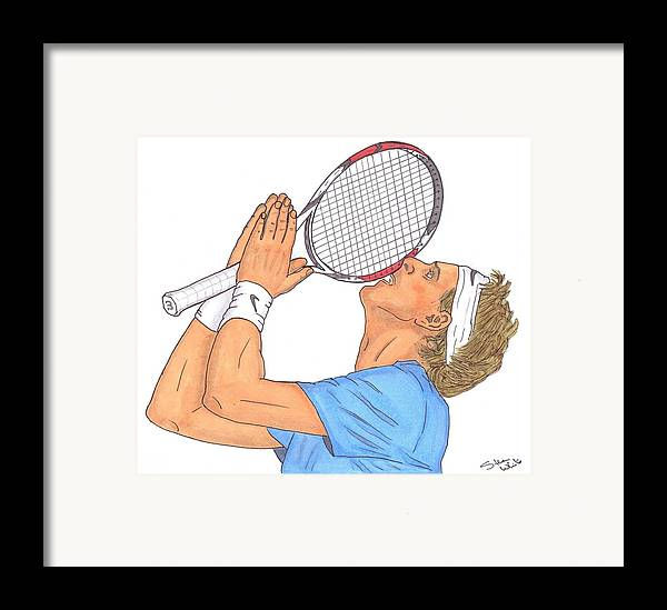 Juan Martin Del Potro Framed Print featuring the drawing Juan Martin Del Potro by Steven White