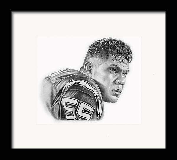 Jr Framed Print featuring the drawing Junior Seau by Don Medina