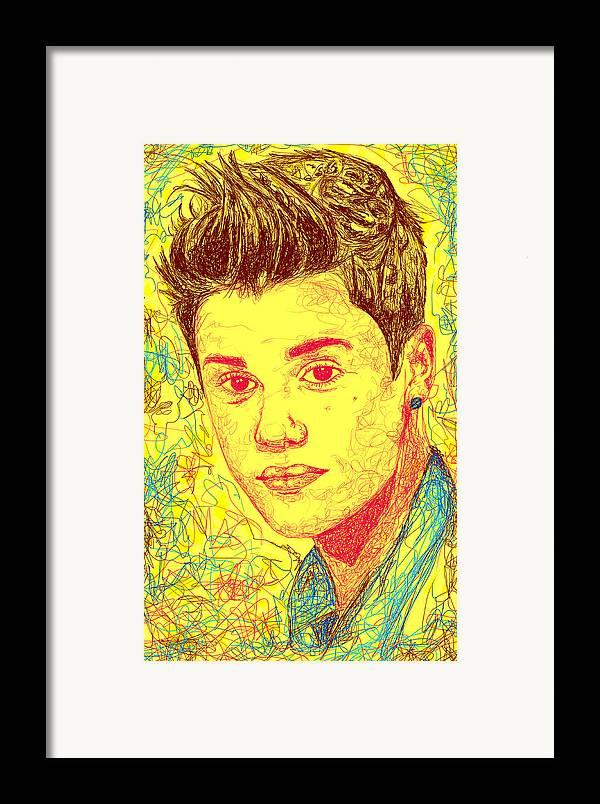 Justin Bieber Framed Print featuring the drawing Justin Bieber In Line by Kenal Louis