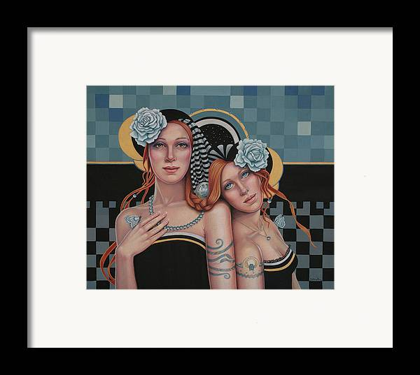 Figurative Framed Print featuring the mixed media Kindred Spirits by Susan Helen Strok