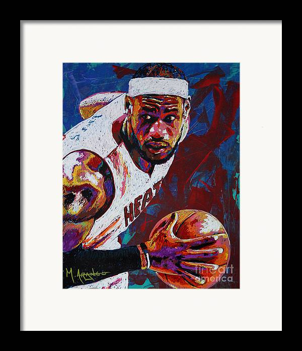 Lebron Framed Print featuring the painting King James by Maria Arango