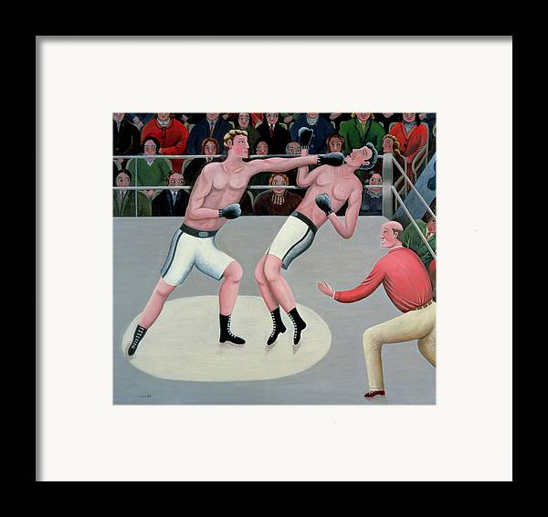 Referee; Boxing; Ring; Punch Framed Print featuring the painting Knock Out by Jerzy Marek